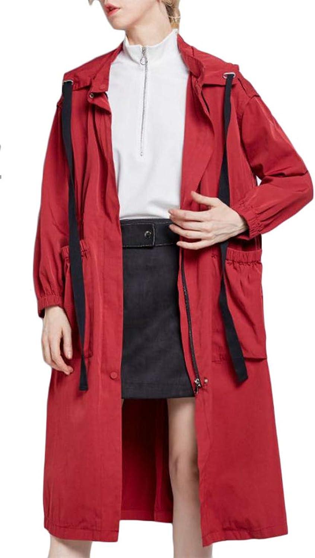 Hajotrawa Women Long Jacket Autumn Overcoat Mid Length Hooded Drawstring Trench Coat