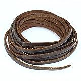 LolliBeads Cuerda de cuero genuino plano de 5 mm trenzado de cuerda marrón oscuro Espresso (2 yardas)