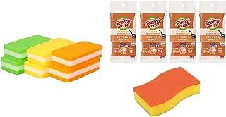 スリーエム(3M) キッチン スポンジ 抗菌 キズをつけない ロング 6個 スコッチブライト SS-74K & キッチン スポンジ 油汚れ コゲ落とし オレンジ 4個 スコッチブライト HBE-4P【セット買い】