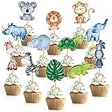 Jungle Safari Animal Cupcake Toppers 48 Pack...