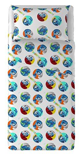T & F 8051511308484Juego Sábanas Pitufos, 100% algodón, Multicolor, Individual, 280x 150x 0.5cm