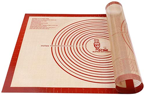 Nonslip Silicone Pastry Mat Extra Large with Measurements 28#039#039By 20#039#039 for Silicone Baking Mat Counter Mat Dough Rolling MatOven LinerFondant/Pie Crust Mat By Folksy Super Kitchen 2028 red