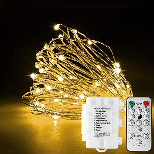 LED Batterie Lichterkette, KooPower 2Stk 100LED Silberdraht IP65 Wasserdicht Lichterketten mit Fernbedienung und Timer Indoor Outdoor Lichterkette für Zimmer, Party, Hochzeit, Weihnachten-WarmesWeiß