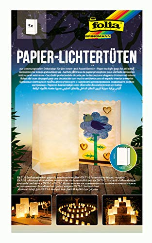 folia 11900 - Lichtertüten aus schwer entflammbarem Papier, blanko, 5 Stück je ca. 19 x 11,5 x 7 cm groß, zum selbstgestalten, stimmungsvolle Tischdekoration, für Gartenpartys, Geburtstage, Hochzeiten