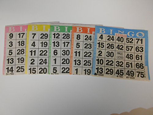 American Games Bingo Paper Game Cards - 1 Card - 5 Sheets - 100 Books - 4 Inch Square Size Disposable Cards - Made in USA