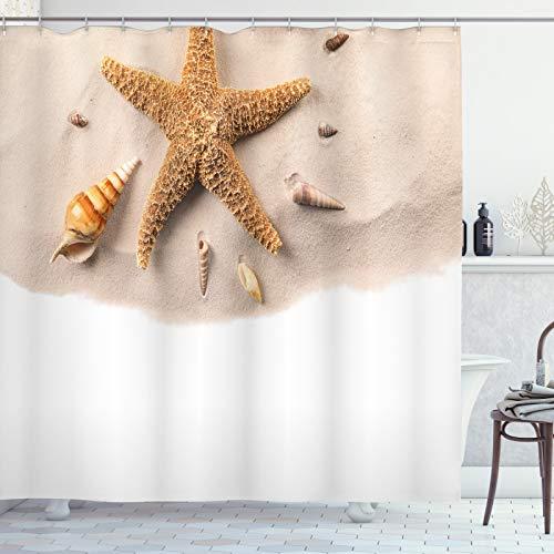 ABAKUHAUS Leben im Meer Duschvorhang, Close up Schuss Muscheln, Personenspezifisch Druck inkl.12 Haken Farbfest Dekorative mit Klaren Farben, 175x220 cm, Aprikose Weiß
