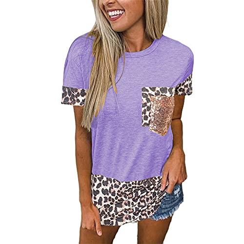 Tops con Estampado de Leopardo para Mujer Camiseta de Manga Corta con Cuello Redondo Camiseta básica Informal de Verano de Manga Corta de Cuello Redondo con Bolsillo Camisetas de Leopardo túni