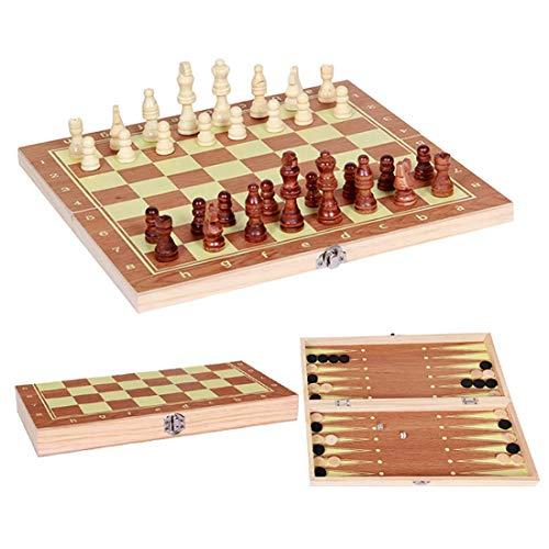 SHBV Juego de Mesa 3 en 1 Juego de ajedrez de Madera Plegable Damas Juegos educativos para niños (como en la Imagen 13.38 * 6.69 * 1.33 in)