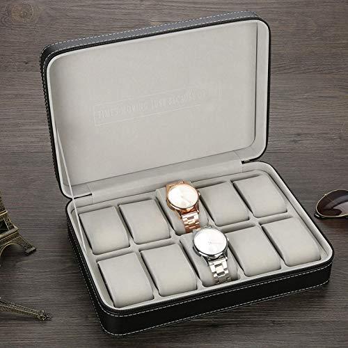 Caja de almacenamiento de reloj, caja de reloj Caja de reloj 10 rejillas 28 x 20 x 7,5 cm para guardar anillos de reloj, pendientes, pulsera, collar