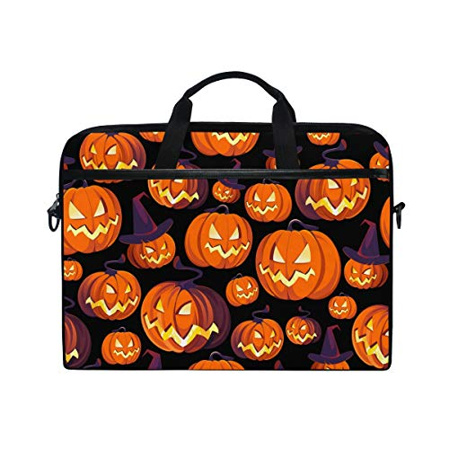 Moyyo Halloween Pumpkins with Hat Laptop Bag Laptop Case with 3 Compartment Shoulder Strap Handle Canvas Computer Bag Personalised for Women Men Kids Girls Boys 15 inch