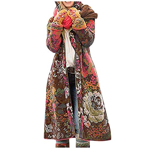 BakingMon Women Retro Floral Print Long Coat Winter Thick Jacket Warm Overcoats Hooded Outwear Coats Khaki