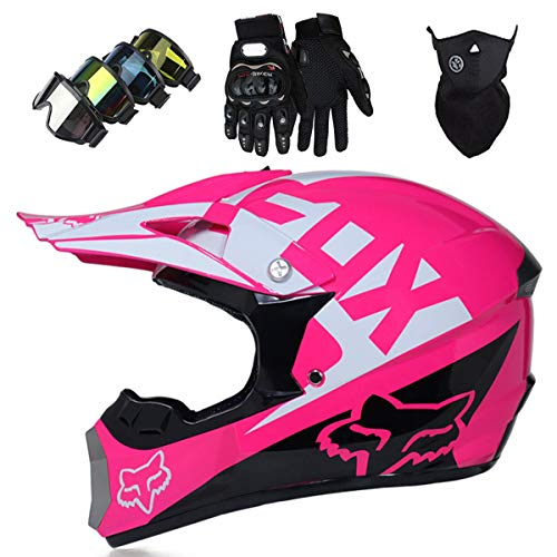 KIVEM Full Face Motocross Helmet,Pro Kids Adult DH Motorbike Cross Helmet Set (Goggles Gloves Mask) for MTB ATV Scooter Downhill Off Road - DOT/ECE - with FOX Design - Personality Cool - Pink,M