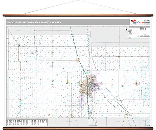MarketMAPS Fargo, ND Metro Area Wall Map - 2018 - ZIP Codes - Laminated with Wooden Rails - 64W x 48H inches