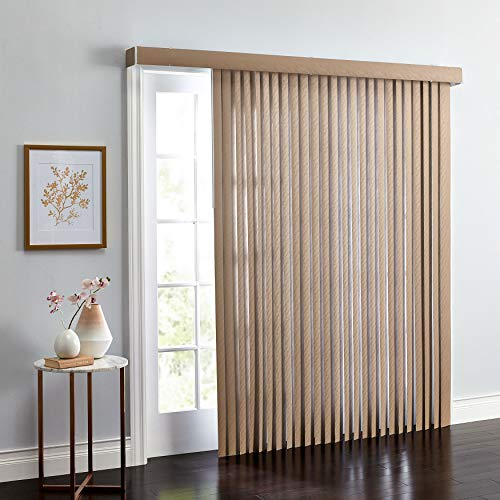 BrylaneHome Embossed Vertical Blinds - 54I W 63I L, Light Taupe