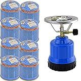 TronicXL Hornillo de gas para camping, 1 llama, encendido piezoeléctrico, quemador de aluminio + 8 cartuchos de bombona de gas butano.