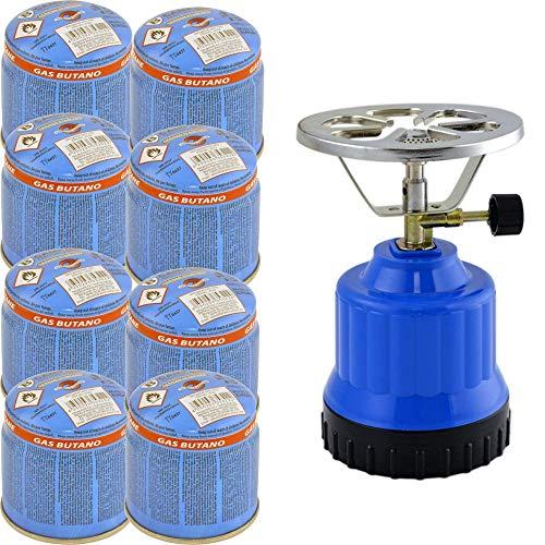 TronicXL Gaskocher Campingkocher 1-flammig Alu-Brenner + 8X Kartusche Gasflasche Butan Set