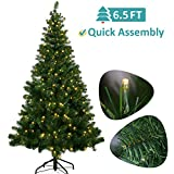 OUSFOT Christmas Tree Prelit 6.5 ft w/ 320 LED Lights 8 Modes Warm White Light PVC Artificial Christmas Tree Easy Assembly Foldable Stand with Metal Legs Indoor (Green)