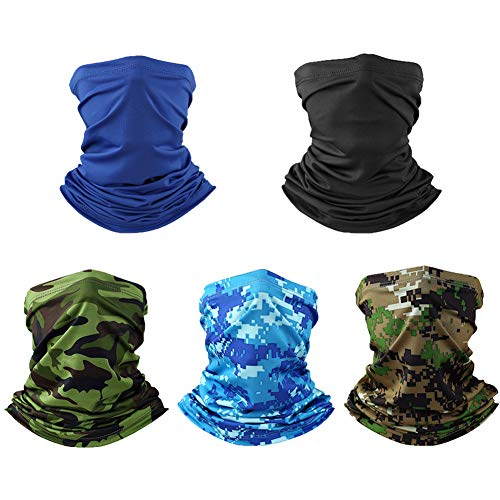 5 Pack UV Protection Neck Gaiter Summer Cooling Balaclava Face Cover...