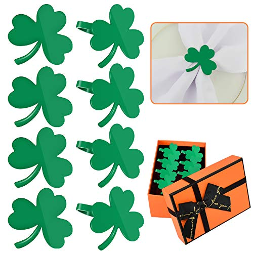 Set of 8 St. Patrick's Day Napkin Rings for Dinning Table Setting- Green Clover Napkin Holder for Holiday Party Wedding Celebration Table Decorations for Casual or Formal Occasion(with Gift Box)