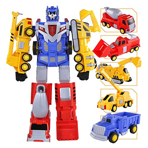 Phoetya Five-in-one Engineering Vehicle Magnetic Deformation Robot, (Delivered within one week) Combined Robot Toys, Transformers, Excavators, Forklifts, Cranes, Trucks, Mixers