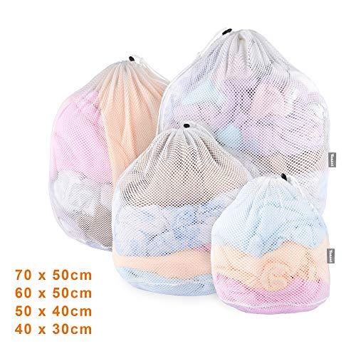 Yoassi [Upgrade Version] 4 Stück Waeschesack Waschmaschine mit Kordelstopper Wäschebeutel Wäschesack für Waschmaschine, Unterwäsche, Babywäsche, Socken, Kaschmir