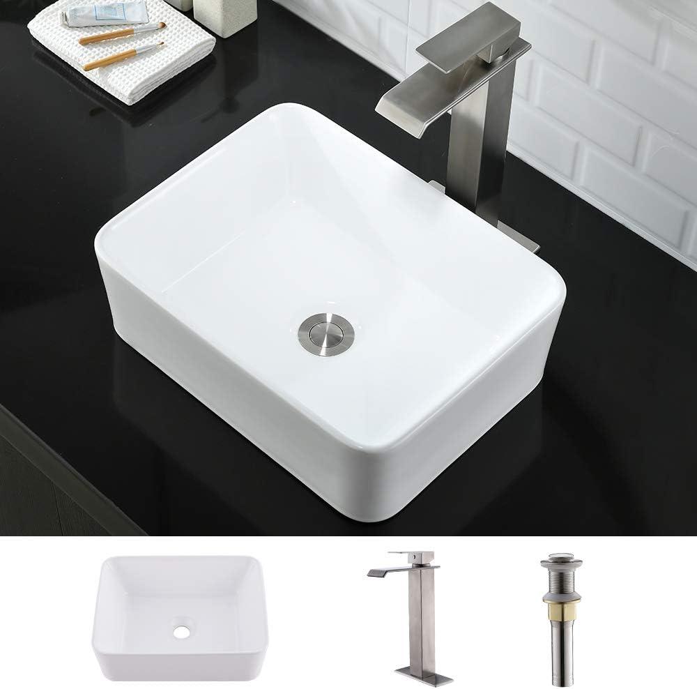 Buy Bathroom Sink And Faucet Combo Rectangle Wmxqx 19x15 Rectangle Bathroom Sink Above Counter White Porcelain Ceramic Bathroom Vessel Vanity Sink Art Basin Faucet Matching Pop Up Drain Combo Online In Hungary B07y4t9l3k