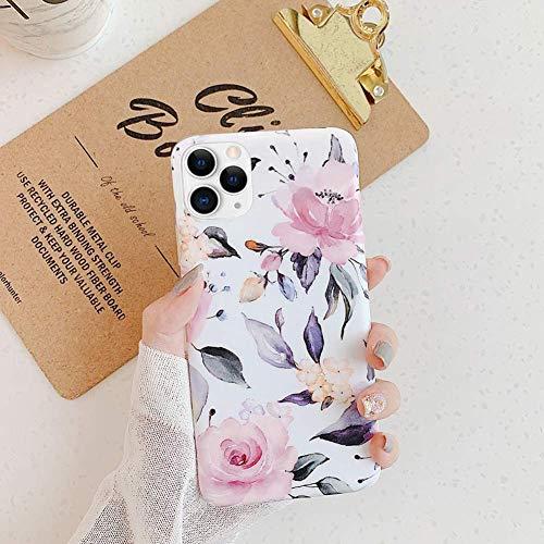 Uposao Fleur Feuilles Coque pour iPhone 11 Pro Matte Coque en Silicone TPU Cover,iPhone 11 Pro Jolie Fleur Housse Téléphone Etui Ultra Mince Souple Gel Bumper Case pour iPhone 11 Pro,D