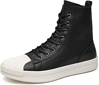 JIANFEI LIANG Men's High Top Skate Shoes Comfort Sneakers Lace up Antislip Waterproof Flat Ankle Boots Athletic Shoes Round Toe Microfiber Upper Men's Casual Shoes (Color : White, Size : 42 EU)
