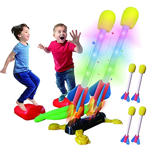Hezruy Dueling Rocket Toy Launcher for Kids,Outdoor Rocket Toys with 4 Foam LED Rockets,Outside STEM Games Toys Birthday Gifts for Boys Girls Toddlers Age 5 6 7 8+