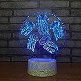 HNXDP Ventas Directas de Fábrica Enchufe Usb Pequeña Luz Nocturna 3d Medusa Acrílico Pequeña Lámpara Habitación para Niños Luces de Luces Infantiles
