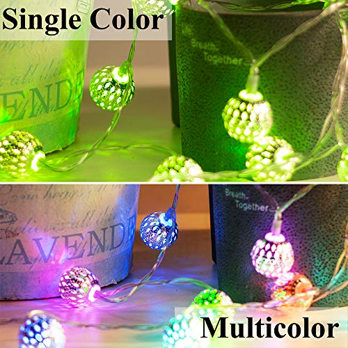 Obrecis Color Changing Globe String Lights, 50LED Moroccan Christmas Lights USB Plug Metal Ball Decorative Lights with Remote for Diwali, Indoor, Boho Girls Bedroom Xmas Tree Decor- 32.8ft (RGB) 5