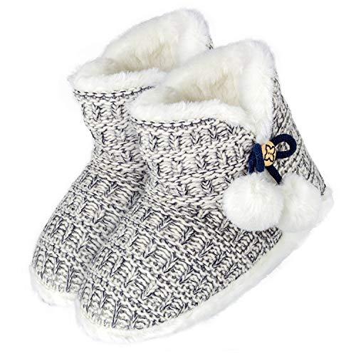 Tarjane Damen Hausstiefel mit Bommel und Zierknopf extra warme Hausschuhe Wellness Booties - Black&White - 36/37