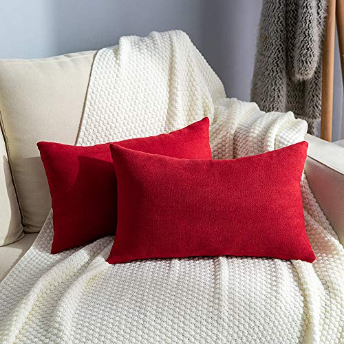 Stellhome Pack of 2 Red Lumbar Throw Pillow Covers Rectangle Set Solid Pillowcase for Bed Couch Sofa Bench, 12x20 inch (30 x 50 cm), Red
