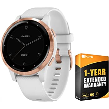 Garmin 010-02172-21 Vivoactive 4S Smartwatch White/Rose Gold Bundle with 1 Year Extended Warranty