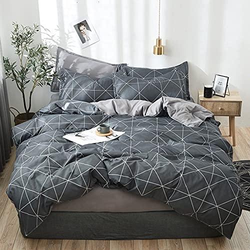 Textiles para el hogar Triángulo geométrico Funda nórdica de Lino Sábana de Rayas Funda de Almohada Niño/niña Juego de Cama para Adultos Completo 24