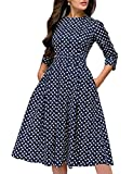 Simple Flavor Women's Floral Evening Flare Vintage Midi Dress 3/4 Sleeve(Navy Blue,L)