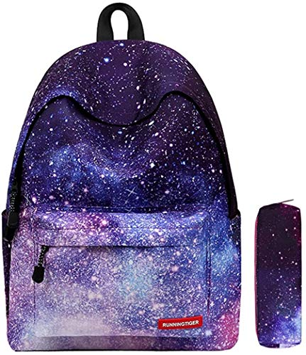 Galaxy Muster Schulrucksack Unisex Reise Rucksack Taschen Freizeit Schultaschen Backpack für Mädchen Jungen Kinder Damen Herren Jugendliche mit Kleine Täschchen Mäppchen