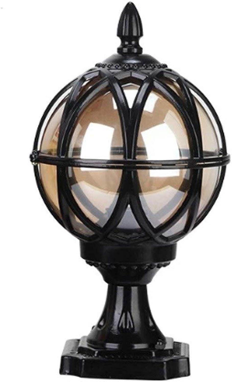 YQJJZX Im freien Wasserdichte Garten Wand Sule Lampe Tür Spalte Lampe Dekoration Weg Patio Taschenlampe Hof Villa Schwimmbad Post Sule Laterne Licht (Farbe   schwarz-L)