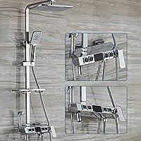 MEIXRJ シャワーセットホームバスルーム水栓滝シャワーシステムバスタブミキサースクエアトップヘッドシャワーディスプレイ画面デジタルシャワー水栓、0543、E
