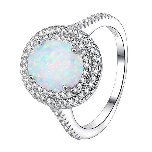 AoedeJ Fire Opal Rings 925 Sterling Silver Micro Pave CZ Halo Rings Women Eternity Wedding Band Rings (6)