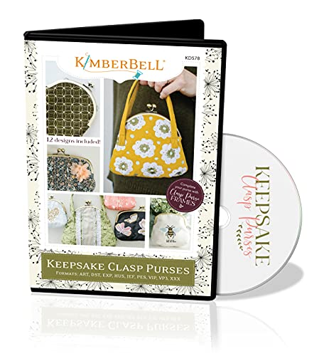 """Kimberbell Keepsake Clasp Purses Machine Embroidery CD - KD578, Includes: 12 Clasp Purse Designs - Large & Small, Easy Step-By-Step Instructions, Hoop Sizes: 5x7"""", 6x10"""", 8x12"""", Made On Sewing Machine"""