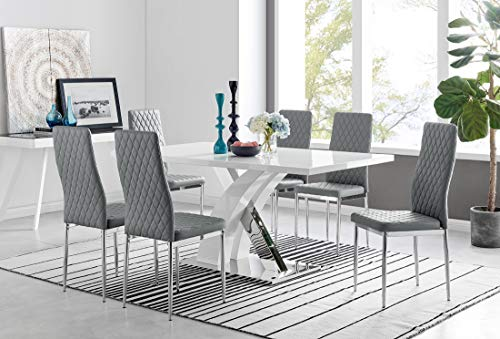 Atlanta Rectangle Chrome Metal Modern Stylish High Gloss White 6 Seater Dining Table and 6 Stylish Modern Milan Dining Chairs Set (Dining Table + 6 Grey Milan Chairs)