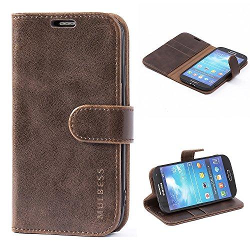 Mulbess Handyhülle für Samsung Galaxy S4 Hülle, Leder Flip Case Schutzhülle für Samsung Galaxy S4 Tasche, Vintage Braun