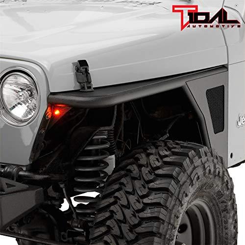 Tidal Tubular Front Fender Flare Rocker Guard with Eagle Light Fit for 97-06 Wrangler TJ