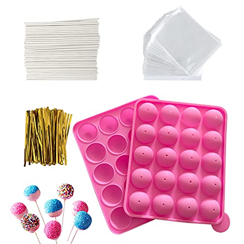 HYCSC 20 Cavity Silicone Cake Pop Mold Kits – Cake Pop Tray with 60pcs Cake Pop Sticks, Bags, Twist Ties, Great for Cake Pop Maker , Lollipop Mold, Cake Pop and Chocolate