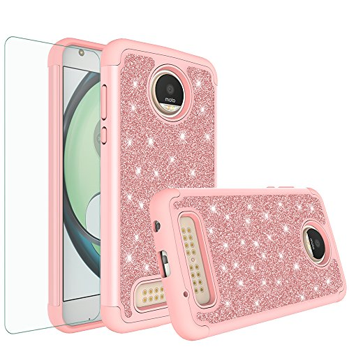 Moto Z2 Force Case, Moto Z2 Force Glitter Bling Heavy Duty Shock Proof Hybrid Case with [HD Screen Protector] Dual Layer Protective Phone Case Cover for Motorola Moto Z2 Force - Rose Gold