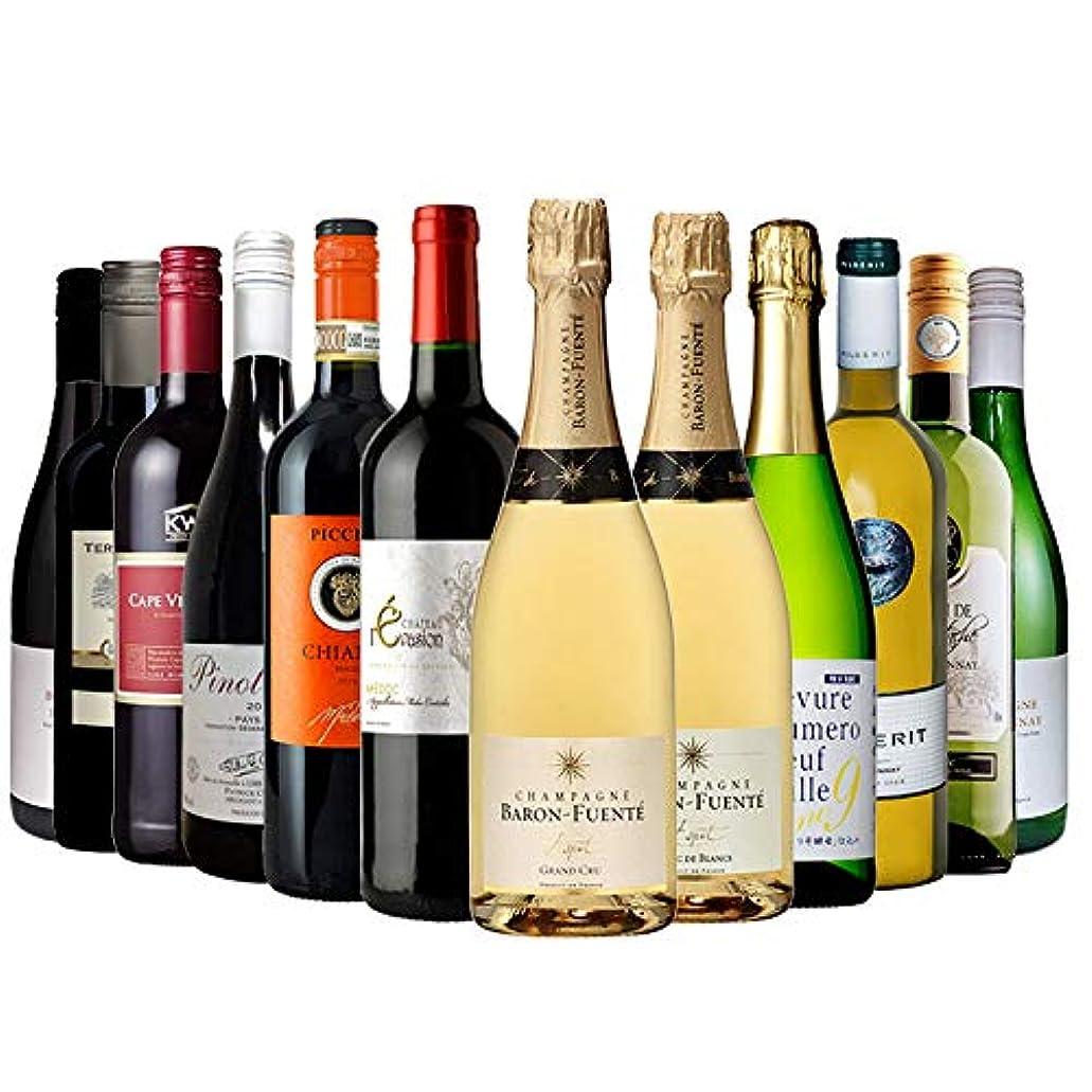 お買い得 訳ありプライス 赤白泡ワイン 12本セット L 辛口 750ml