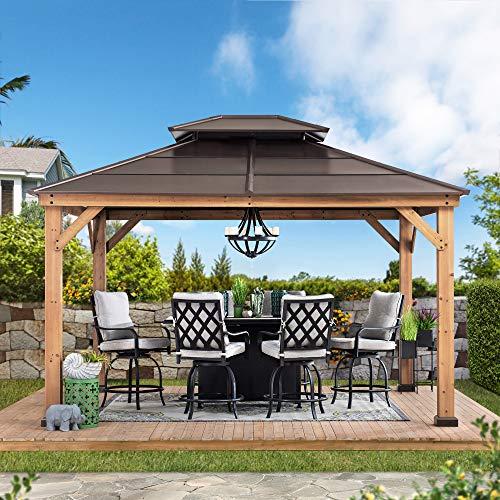 Sunjoy Chapman 11 x 13 ft. Cedar Framed Gazebo with Steel 2-Tier Hip Roof Hardtop, 11 x 13, Brown