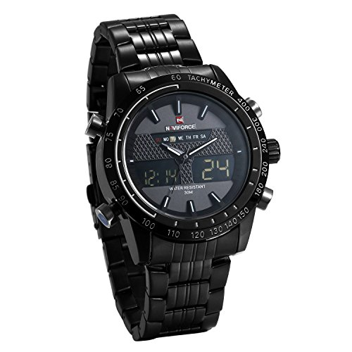 JewelryWe Reloj Negro para Hombre Reloj Dual Time 2 Zonas de Horarios, Correa de Acero Inoxidable Reloj Deportivo 3 ATM A Prueba de Agua, Original Reloj de Hombre