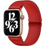 GBPOOT Compatibile con Cinturino Nylon solo loop per Apple Watch 38mm 40mm 42mm 44mm, Cinturino di Ricambio Lo Sport in Elastico in Nylon per Iwatch 6/SE/5/4/3/2/1,Rosso puro,42/44mm